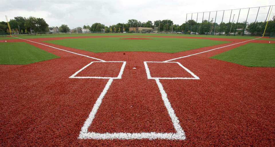 This Thursday, Aug. 21, 2014 photo shows the restored field at League Park in Cleveland. The city of