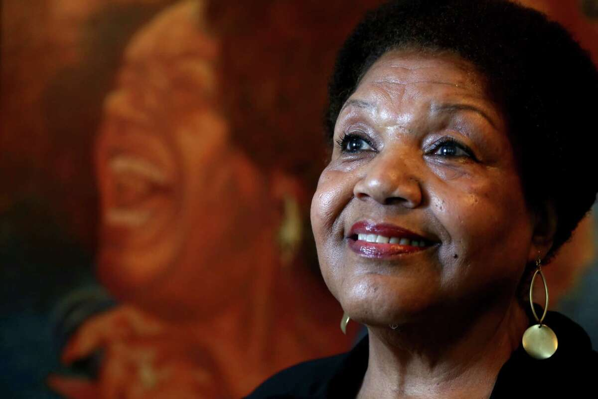 Jazz and blues singer Jewel Brown, 76, is a long time Third Ward resident. The painting in the background, by artist Wil Clay, was presented to Brown in 1988 when she was named Singer of The Year by than-Mayor Kathy Whitmire. ( Gary Coronado / Houston Chronicle )