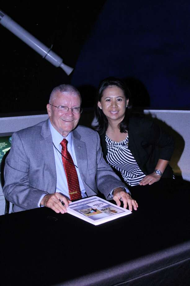 Molly Nipper visits with former astronaut Fred Haise. Photo: Courtesy Spring Branch ISD