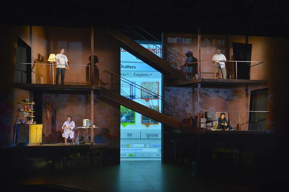 """The multiunit set of """"Water by the Spoonful"""" shows the separation of actors (clockwise from top left) Patrick Kelly Jones,  Anthony J. Haney, Anna Ishida and Zilah Mendoza, whose characters nevertheless form a community online. Photo: Kevin Berne"""