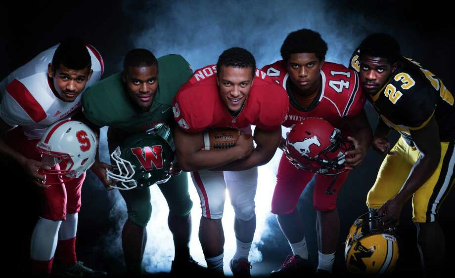 An abundance of quality running backs will be shredding defenses and piling up the yardage this fall. Five seniors in particular to watch are (from left): Splendora's  Jay Bradford, The Woodlands' Patrick Carr, Katy's Rodney Anderson, North Shore's Tristan Houston and Fort Bend Marshall's Davon Crookshank. Photo: Billy Smith II / © 2014 Houston Chronicle