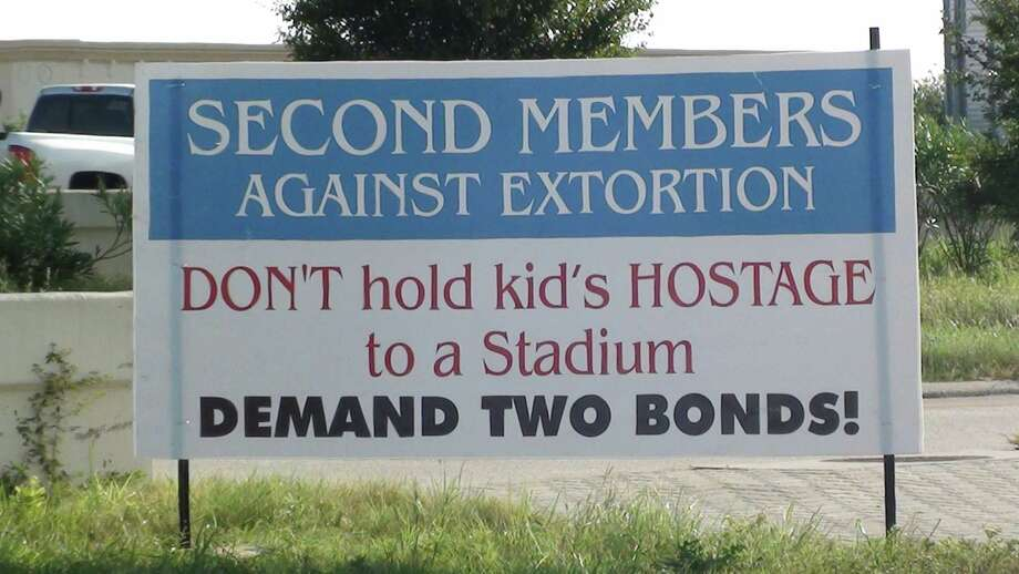 Signs displayed near Second Baptist Church West in Katy make reference to the upcoming bond proposal. Photo: Photos Courtesy Of Michael Frank / Photos courtesy of Michael Frank