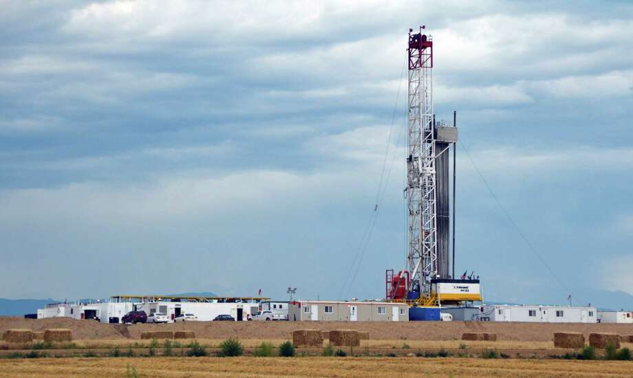 A site north of Denver has multiple wells drilled on a single pad with equipment also staged on-site, both new approaches. Photo: Jennifer A. Dlouhy / The Houston