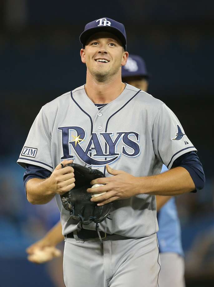 Tampa Bay's Drew Smyly retired the final 19 batters while pitching a two-hit shutout against Toronto. Photo: Tom Szczerbowski, Getty Images