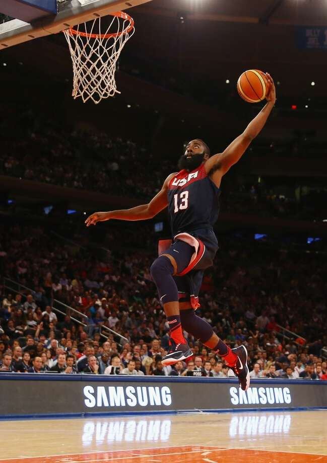 United States 112, Puerto Rico 86  James Harden dunks against Puerto Rico during their game at Madison Square Garden. Photo: Al Bello, Getty Images