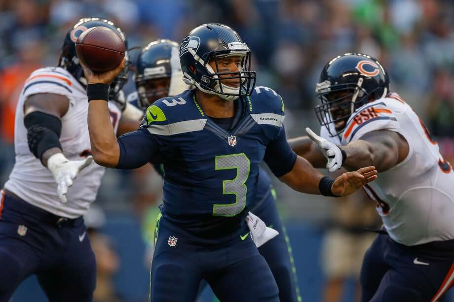 """2. Russell Wilson could be an MVP candidateFor the second week in a row, Wilson looked like a superstar. Playing through the first half and into the third   quarter, Wilson finished 15-for-20 with 202 passing yards and three touchdowns, including one on the ground. He was,   once again, impossible to sack -- leading at least one seattlepi.com writer to declare him an actual mutant with eyes   in the back of his head.Yet the most impressive thing about Wilson's play is how calm, relaxed and poised he remains even under pressure.   Guy coming around the edge? Fine, step up in the pocket. Defender sneaking up behind? Whatever, just spin the other   direction and sprint away. Defense successfully blew up a play? Meh, just look for a bailout guy for 15 yards. No   sweat. No biggie. No doubt.Wilson is looking like anything but the """"game manager"""" so many NFL fans think he is. With a potentially strong   offensive line this season, he could finally show the nation just what he is capable of doing. And it looks like he is   capable of greatness. Photo: Otto Greule Jr, Getty Images"""