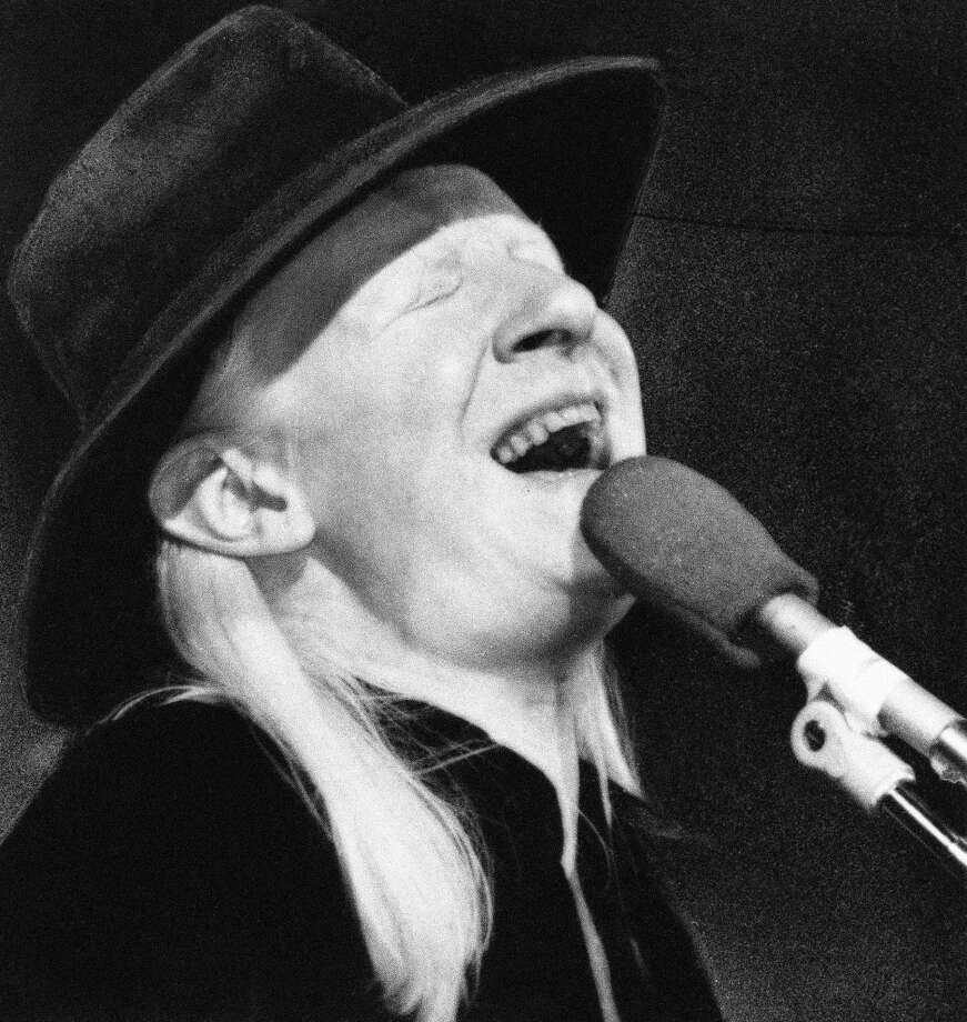 Johnny Winter, entertainer, as he performed at New York's Palladium Theater on Oct. 1, 1977, in a benefit performance for the New York Public Library to purchase rare blues records. (AP Photo) Photo: ASSOCIATED PRESS