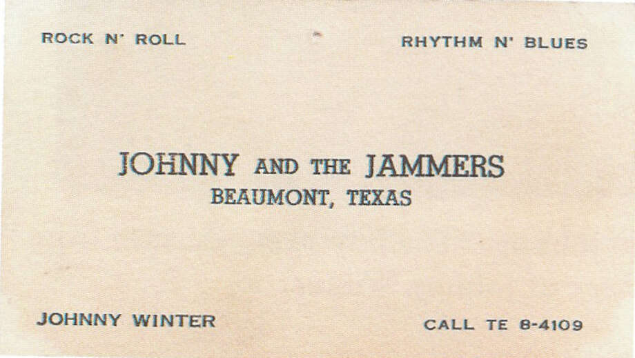 "Johnny Winter's first business card, which he used at age 15 to get gigs around Beaumont. Photo courtesy of the book ""Raisin' Cain"" The Wild and Raucous Story of Johnny Winter"", copyright 2010 by Mary Lou Sullivan Photo: Courtesy"