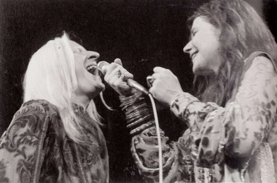 "Johnny Winter and Janis Joplin on stage at Madison Square Garden in 1969. Photo courtesy of the book ""Raisin' Cain"" The Wild and Raucous Story of Johnny Winter"", copyright 2010 by Mary Lou Sullivan"