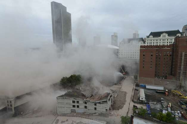 The dust cloud moves on. (Will Waldron/Times Union)