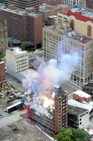 Explosives set off inside the Wellington Annex during an implosion on Saturday, Aug. 23, 2014, in Albany, N.Y. (Cindy Schultz / Times Union) Photo: Cindy Schultz / 00028210C