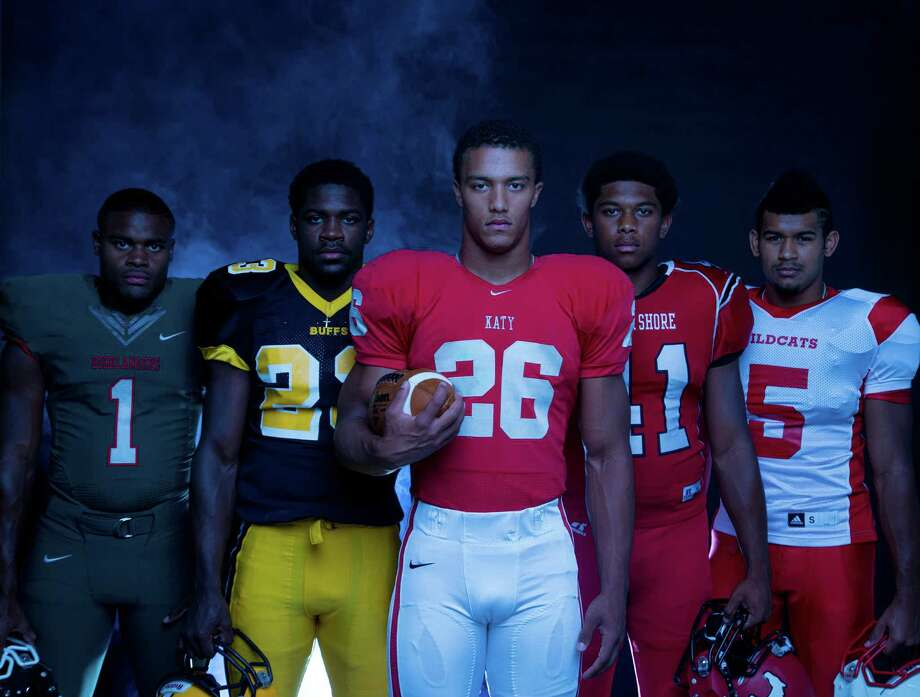 The 2014 running back elite of the Houston area. The Woodlands High school's Patrick Carr,  Fort Bend Marshall High school's Davon Crookshank, Katy High school's Rodney Anderson, North Shore High school's Tristan Anderson, Splendora High school's  Jay Bradford. Photo: Billy Smith II, Chronicle / © 2014 Houston Chronicle