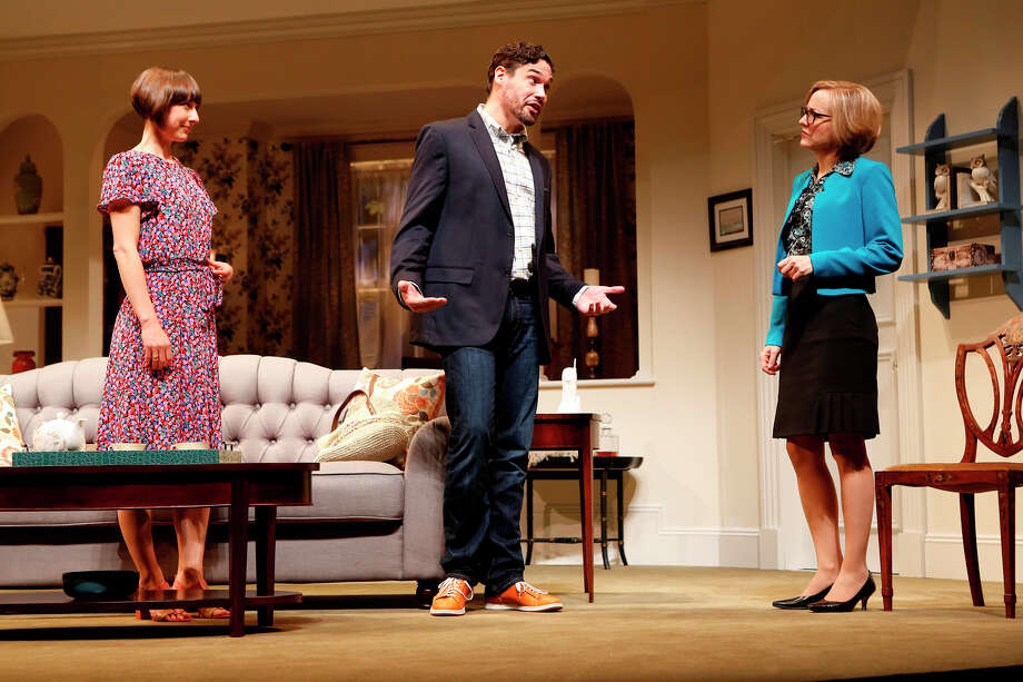 Matthew Greer reacts to Geneva Carr as Sarah Manton watches the interaction in a scene from ìThings We Do for Love,î the latest production at the Westport Country Playhouse. Photo: Westport News/Contributed Photo / Westport News