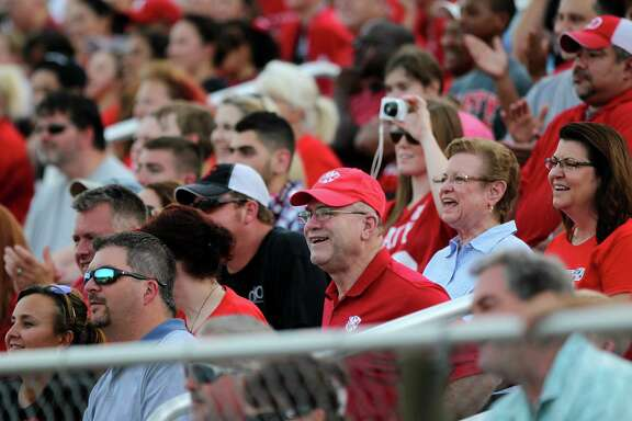 Super fan Mike Tawney at the Annual Town Pep Rally for the Fall sports teams including the Roarin' Band from Tigerland, cheerleaders and Bengal Brigade at Katy High School Monday, Aug. 18, 2014, in Katy, Texas.