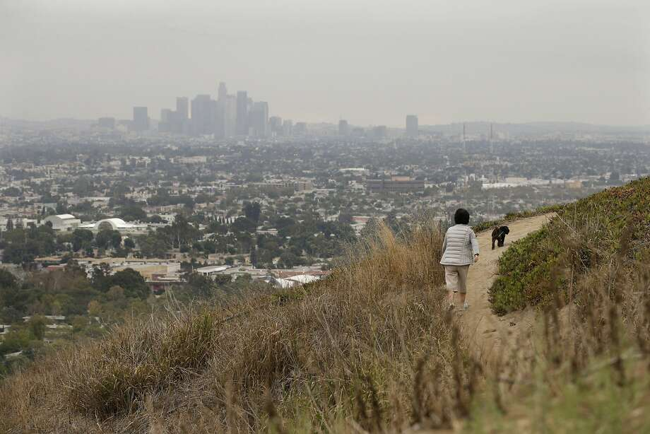 A hiker and her dog walk a trail at the Baldwin Hills Park in Los Angeles, part of the Baldwin Hills Conservancy. Photo: Jae C. Hong, Associated Press
