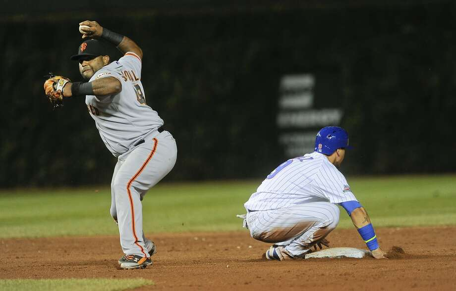 Third baseman Pablo Sandoval was called on to turn a double play at second Wednesday in Chicago. Photo: Matt Marton, Associated Press