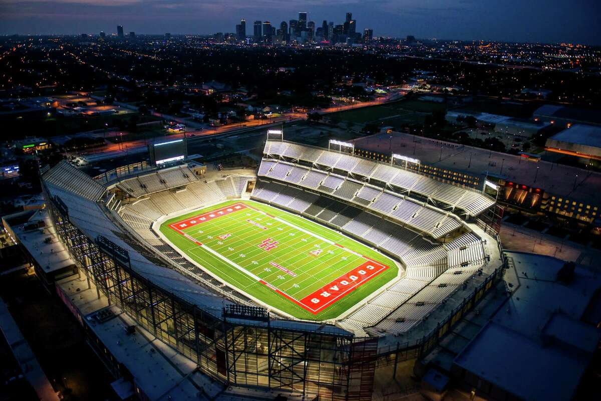TDECU Stadium at the University of Houston seen in an aerial view on Wednesday, Aug. 20, 2014, in Houston. ( Smiley N. Pool / Houston Chronicle ) City: Houston Location: South Side GPS: N29°43.243' W95°20.847'