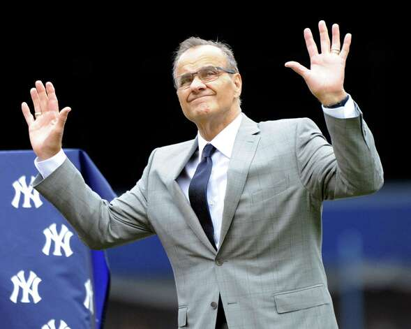 Former New York Yankees manager Joe Torre reacts as the Yankees retired his number during a ceremony before a baseball game against the Chicago White Sox Saturday, Aug. 23, 2014, at Yankee Stadium in New York. (AP Photo/Bill Kostroun) ORG XMIT: NYY104 Photo: Bill Kostroun / FR51951 AP