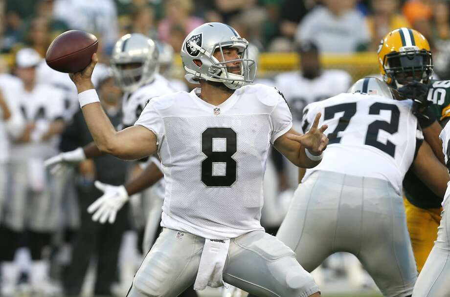 Oakland Raiders quarterback Matt Schaub (8) throws a pass against the Green Bay Packers during the first half of an NFL preseason football game Friday, Aug. 22, 2014, in Green Bay, Wis. (AP Photo/Mike Roemer) Photo: Mike Roemer, Associated Press