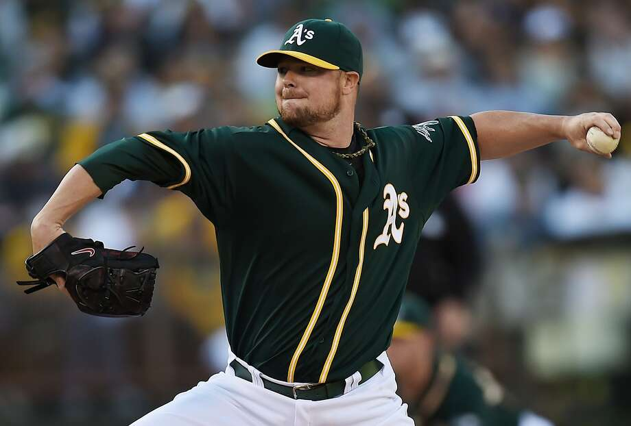 Jon Lester, traded from Boston on July 31, went seven strong innings in the A's win Saturday. Photo: Thearon W. Henderson, Getty Images