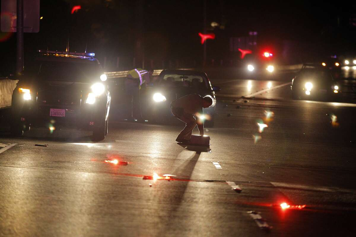 CHP officers shut down an offramp from Highway 37 to Sonoma Blvd. as a strong earthquake hit the San Francisco Bay Area centered near American Canyon, Calif., on Sunday, August 24, 2014.