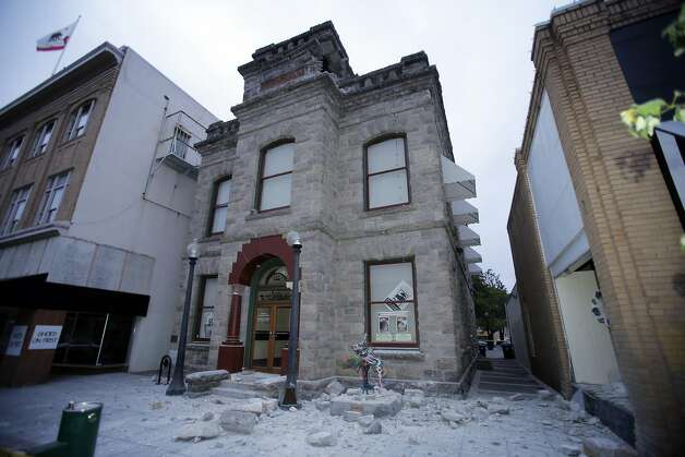 The Goodman Library in Napa, Calif., shows damage after a strong earthquake hit the area early Sunday, August 24, 2014. Photo: Carlos Avila Gonzalez, The Chronicle