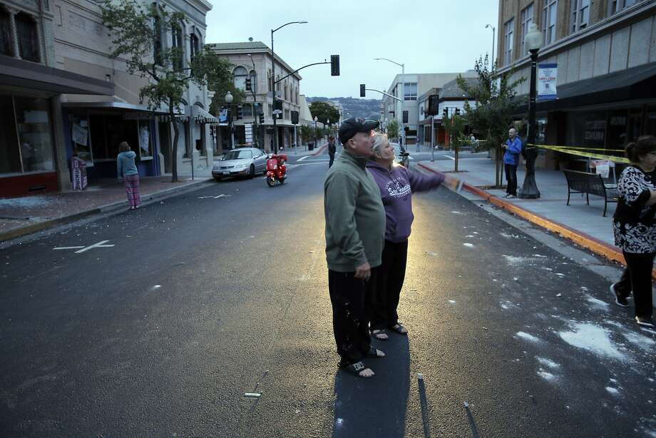 Bud and Annie Reeves, look over damage from an earthquake in Napa, Calif., as a strong earthquake hit the San Francisco Bay Area centered near American Canyon522298, on Sunday, August 24, 2014. Photo: Carlos Avila Gonzalez, The Chronicle