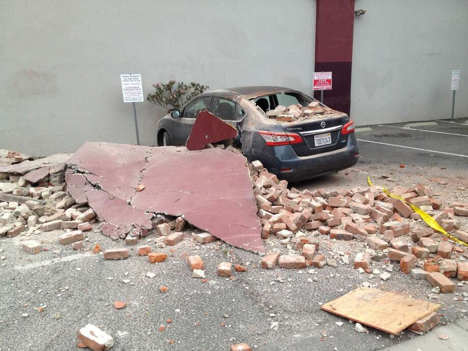 Reader Jonathan Clark sent this photo of damage in Napa. A 6.0-magnitude earthquake hit the area, centered near American Canyon in Napa County, at 3:20 a.m. on Sunday, August 24, 2014. Photo: Jonathan Clark