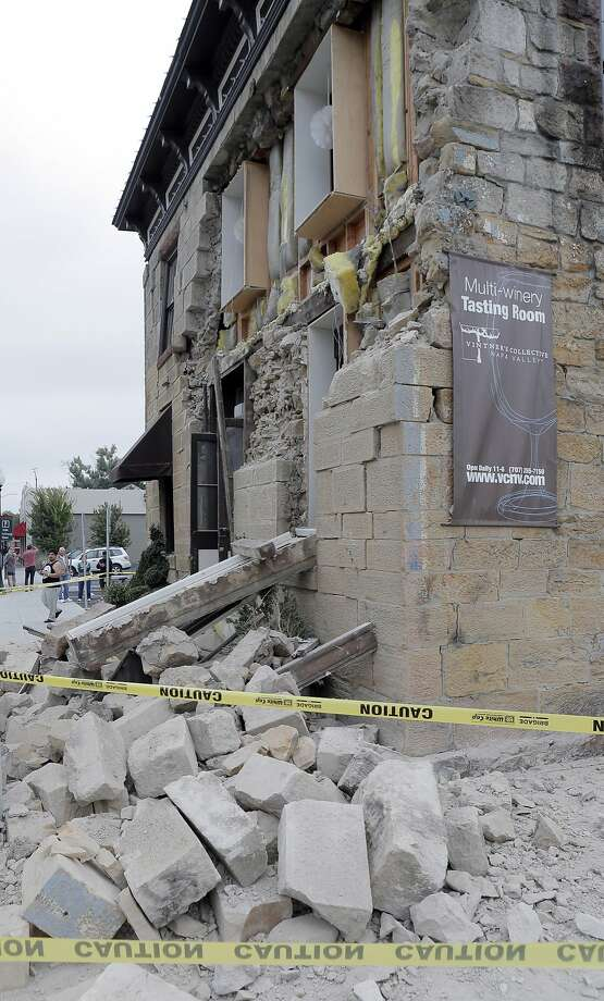 Vintner Collective on Main Street in Napa, Calif., sustained major damage to its facade, but little inside damage according to the owner after a strong earthquake hit the San Francisco Bay Area centered near American Canyon, on Sunday, August 24, 2014. Photo: Carlos Avila Gonzalez, The Chronicle