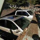 Earthquake damage to car garages at Charter Oaks on Browns Valley Road in Napa, Calif. on Sunday, August 24, 2014,