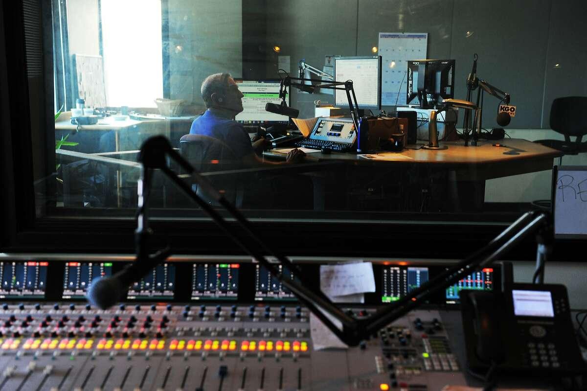 Ronn Owens speaks on the air in his studio on August 21, 2014 in San Francisco, CA. longtime Bay Area radio talk show host Ronn Owens has been battling Parkinson's disease.