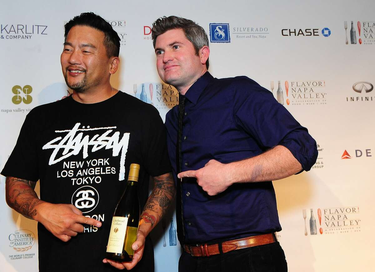 Chef Roy Choi and Barrett Corrigan from Cakebread pose for a photo during the welcome dinner for Flavor! Napa Valley held at the Silverado Resort and Spa in Napa on November 21, 2013.