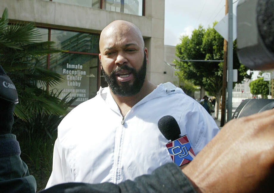 "FILE - In a Feb. 26, 2003 file photo, rap music mogul Marion ""Suge' Knight walks out of the Los Angeles County jail, in Los Angeles. Knight has been injured in an early morning shooting Sunday, Aug. 24, 2014, at a West Hollywood nightclub but is expected to survive. Sgt. C. Tatar, watch commander at the Los Angeles County sheriff department's West Hollywood station, says the 49-year-old Knight and two others were hit at the 1OAK club around 1:30 a.m. Authorities say the club was packed at the time, and they are still seeking a suspect. The other victims were a man and a woman. Photo: Damian Dovarganes, AP / AP"