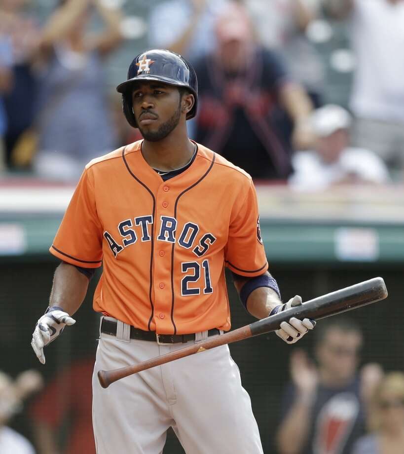 August 24: Indians 3, Astros 1  Dexter Fowler reacts after striking out swinging against Indians relief pitcher Cody Allen in the ninth inning Photo: Tony Dejak, Associated Press