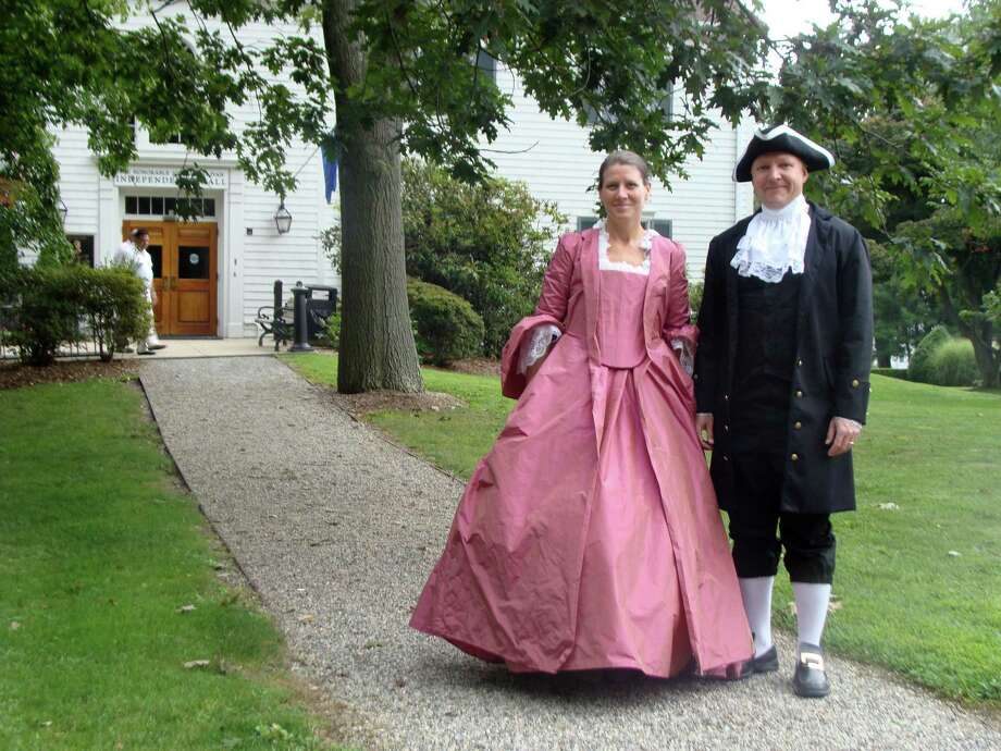 Rip Littig of Fairfield portrayed John Hancock and his real-life wife Jill Littig took the role of Dorothy Quincy Saturday on the grounds of the Burr Homestead for a re-enactment of the Hancock-Quincy nuptials, which took place at the original Burr Mansion on Aug. 23, 1775. Photo: Meg Barone / Fairfield Citizen