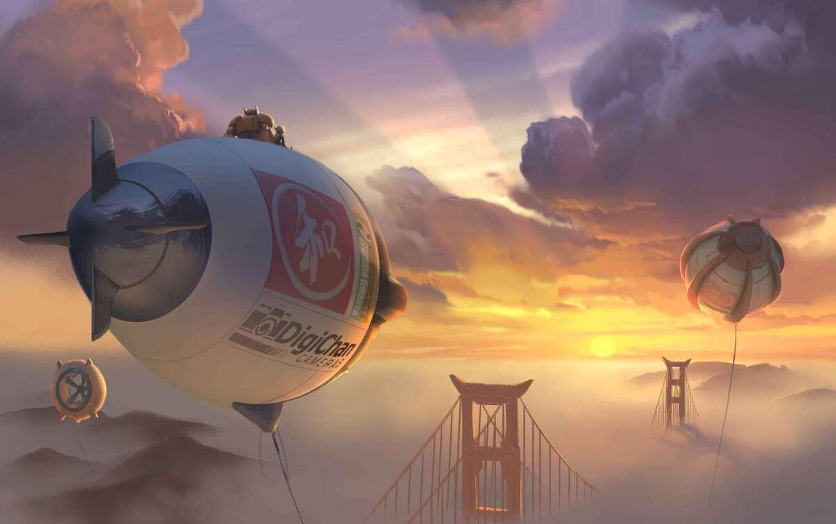 "A scene over San Fransokyo in ""Big Hero 6."""