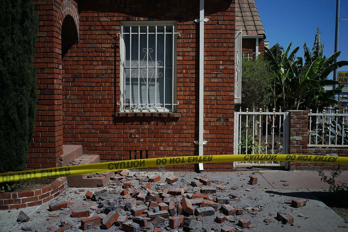 A damaged chimney on Tennessee St. is seen on Sunday, August 24, 2014 in Vallejo, Calif. A 6.0 earthquake rattled much of the Bay Area early Sunday morning.