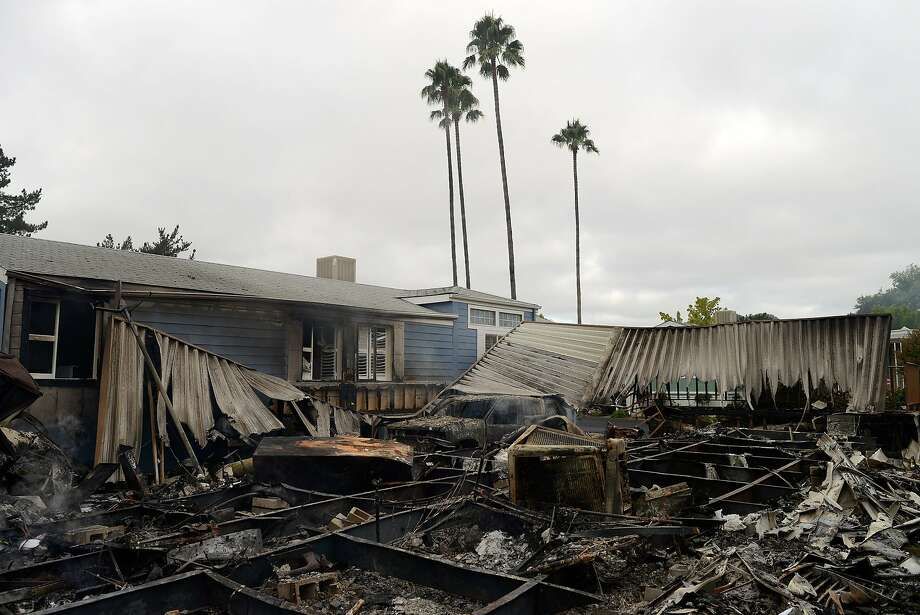 One of the mobile homes that burned to the ground in the Napa Valley Mobile Home Park after a magnitude 6.0 earthquake struck in the early morning of August 24, 2014, in Napa, California. Photo: Alvin Jornada, Special To The Chronicle