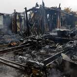 One of the mobile homes that burned to the ground in the Napa Valley Mobile Home Park after a magnitude 6.0 earthquake struck in the early morning of August 24, 2014, in Napa, California.