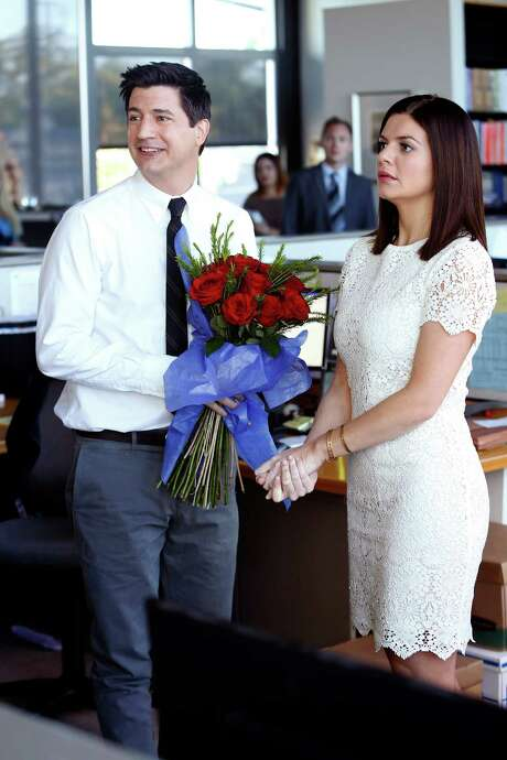 "Ken Marino (left) and Casey Wilson in ""Marry Me."" Photo: NBC / Greg Gaynes / NBC / ONLINE_CHECK"