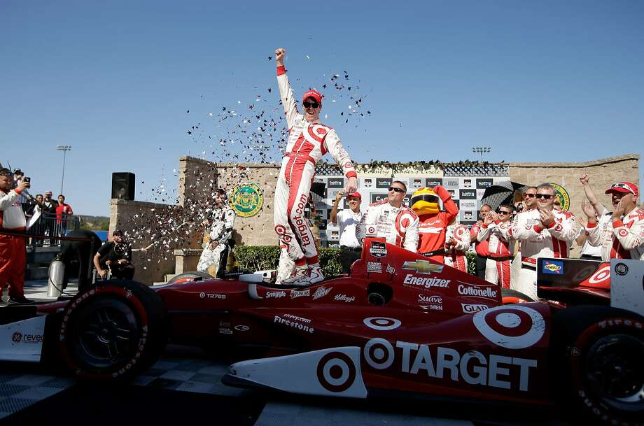Scott Dixon celebrates after his charge to the front with two laps to go resulted in his second IndyCar victory at Sonoma Raceway. He also won in 2007. Photo: Ezra Shaw, Getty Images
