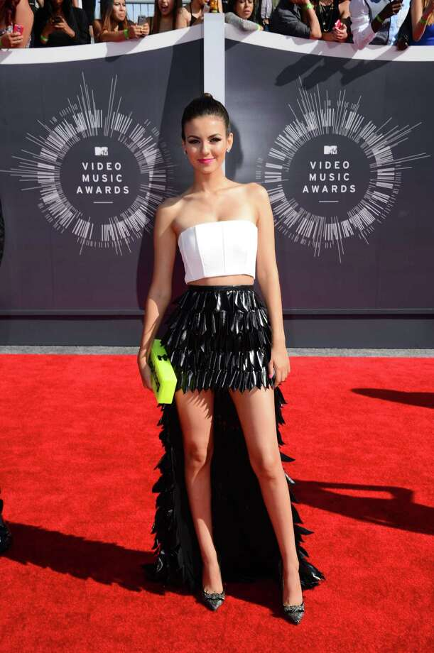 Victoria Justice arrives at the MTV Video Music Awards at The Forum on Sunday, Aug. 24, 2014, in Inglewood, Calif. Photo: Jordan Strauss, AP / Invision