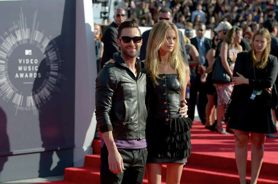 Adam Levine and Behati Prinsloo arrive at the MTV Video Music Awards at The Forum on Sunday, Aug. 24, 2014, in Inglewood, Calif. Photo: Jordan Strauss, AP / Invision
