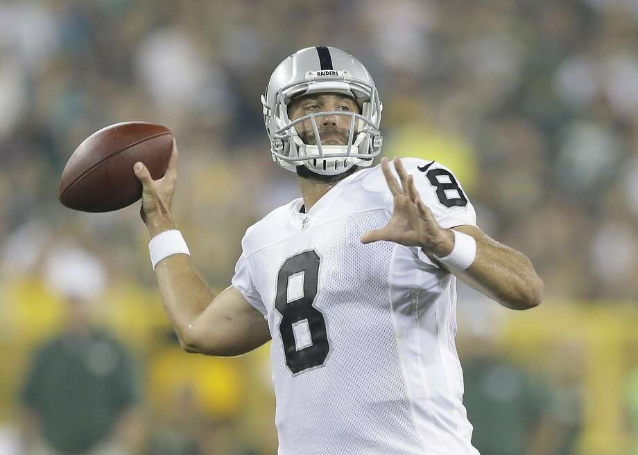 Oakland Raiders' Matt Schaub throws during the second half of an NFL preseason football game against the Green Bay Packers Friday, Aug. 22, 2014, in Green Bay, Wis. (AP Photo/Tom Lynn) Photo: Tom Lynn, Associated Press