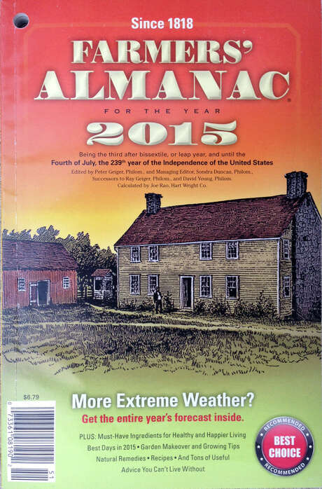 "The 2015 edition of the Farmers' Almanac is seen in Lewiston, Maine, Sunday, Aug. 24, 2014. The 198-year-old publication correctly predicted the past nasty winter while federal forecasters blew it. Memories of the notorious ""polar vortex"" won't soon be forgotten, and the publication is predicting more of the same for the coming winter. (AP Photo/Robert F. Bukaty) Photo: Robert F. Bukaty, STF / AP"