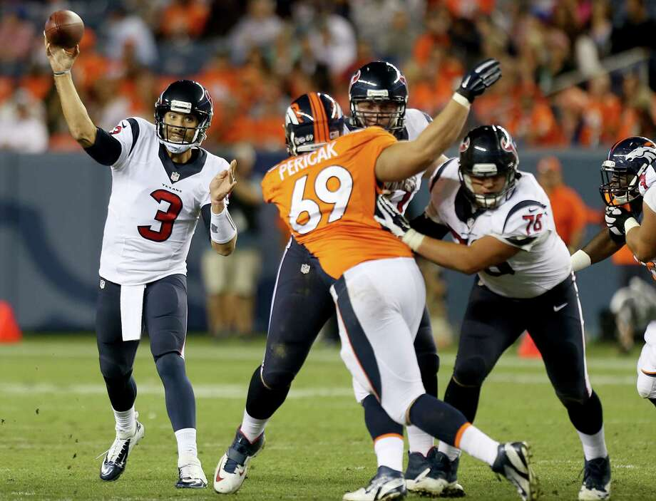 Texans quarterback Tom Savage led a game-winning scoring drive to beat the Broncos on Saturday night, but the rookie's body of work in the NFL is too small a sample to be definitive. Photo: Brett Coomer, Staff / © 2014  Houston Chronicle