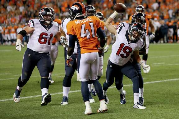 Wide receiver Travis Labhart (19) puts the exclamation point on the Texans' victory Saturday night after catching the two-point conversion pass from Tom Savage that provided the winning margin.