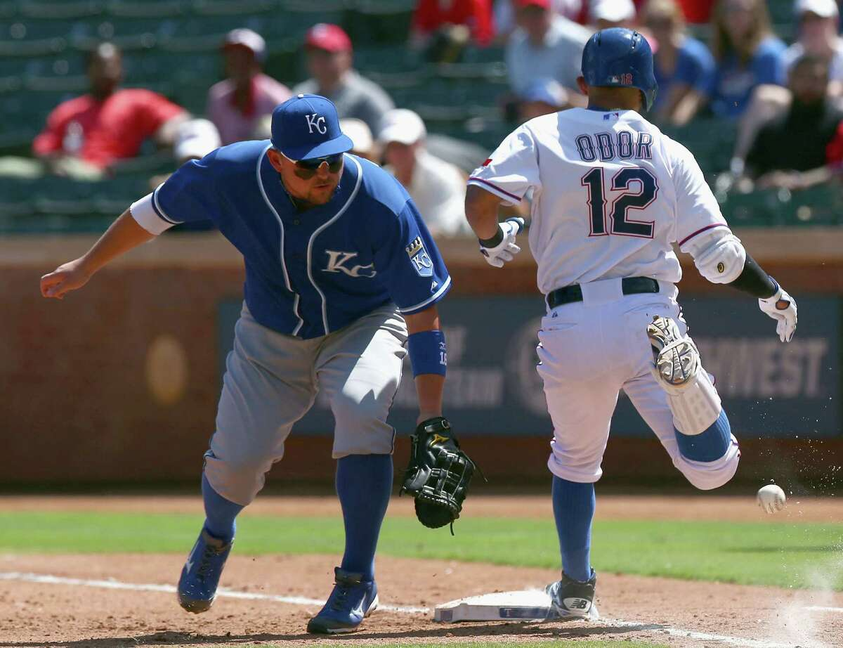 Texas' Rougned Odor gets to first base and eventually second after a throwing error to Kansas City's Billy Butler in the fourth inning. The Rangers were helped to victory by starter Scott Baker, typically a reliever.