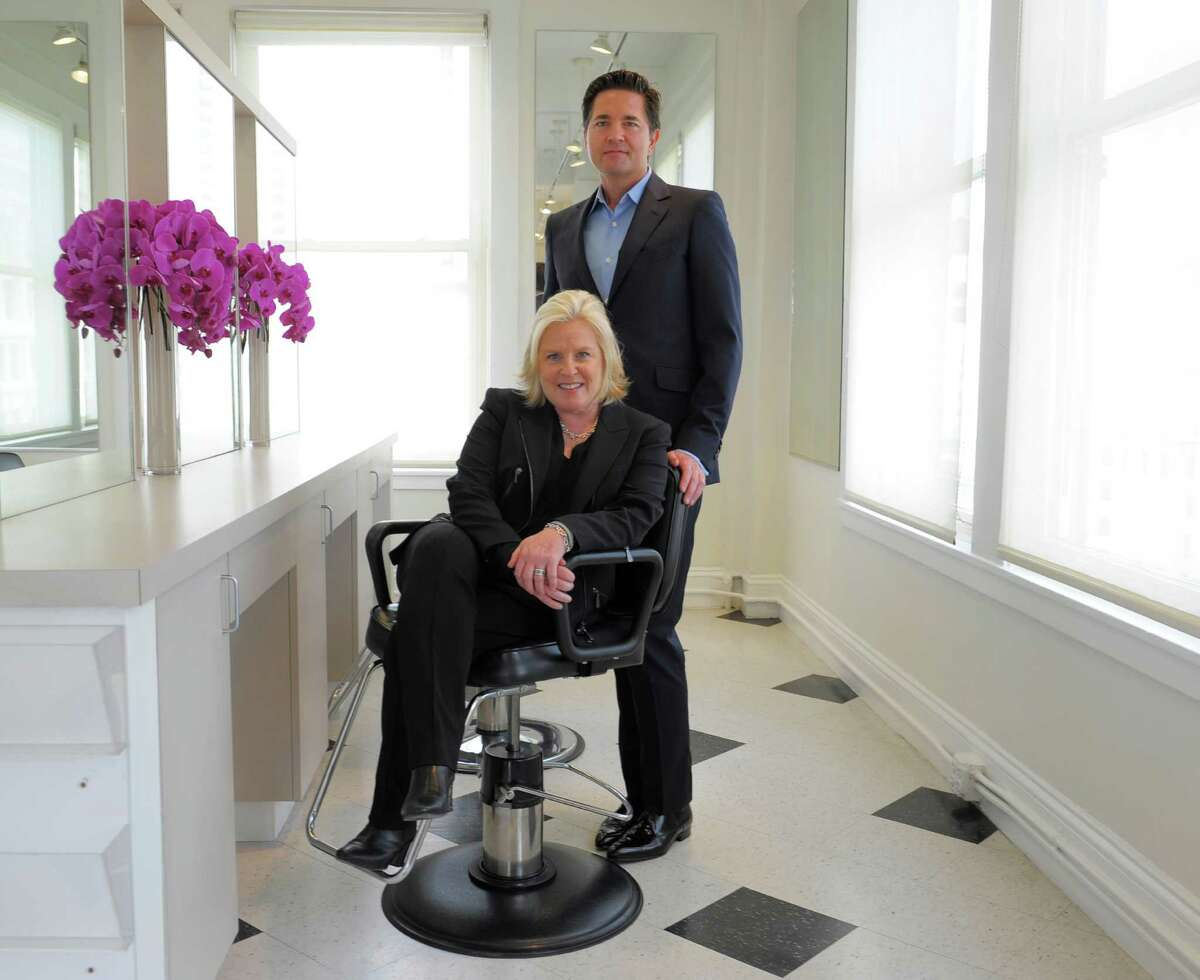 Company founder Amy Errett and Advisor Alex Chases pose for a portrait inside the Alex Chases salon on Geary street on June 25, 2014 in San Francisco, CA. The new hair color company was founded in San Francisco and uses natural products.