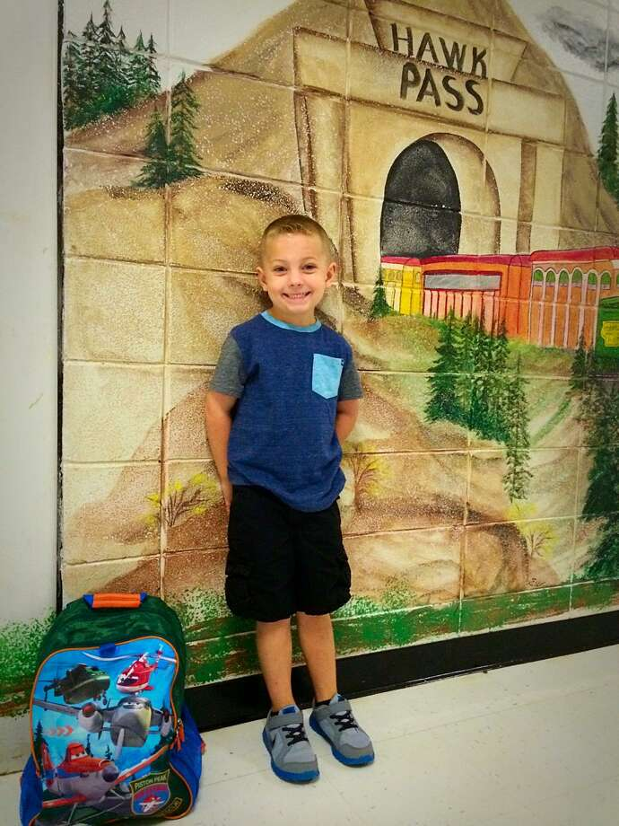 Denson Revia prepares for his first day of kindergarten at Sour Lake Elementary. Photo: Courtesy